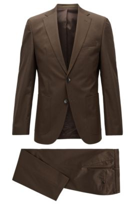 Regular-fit suit in stretch cotton, Marron