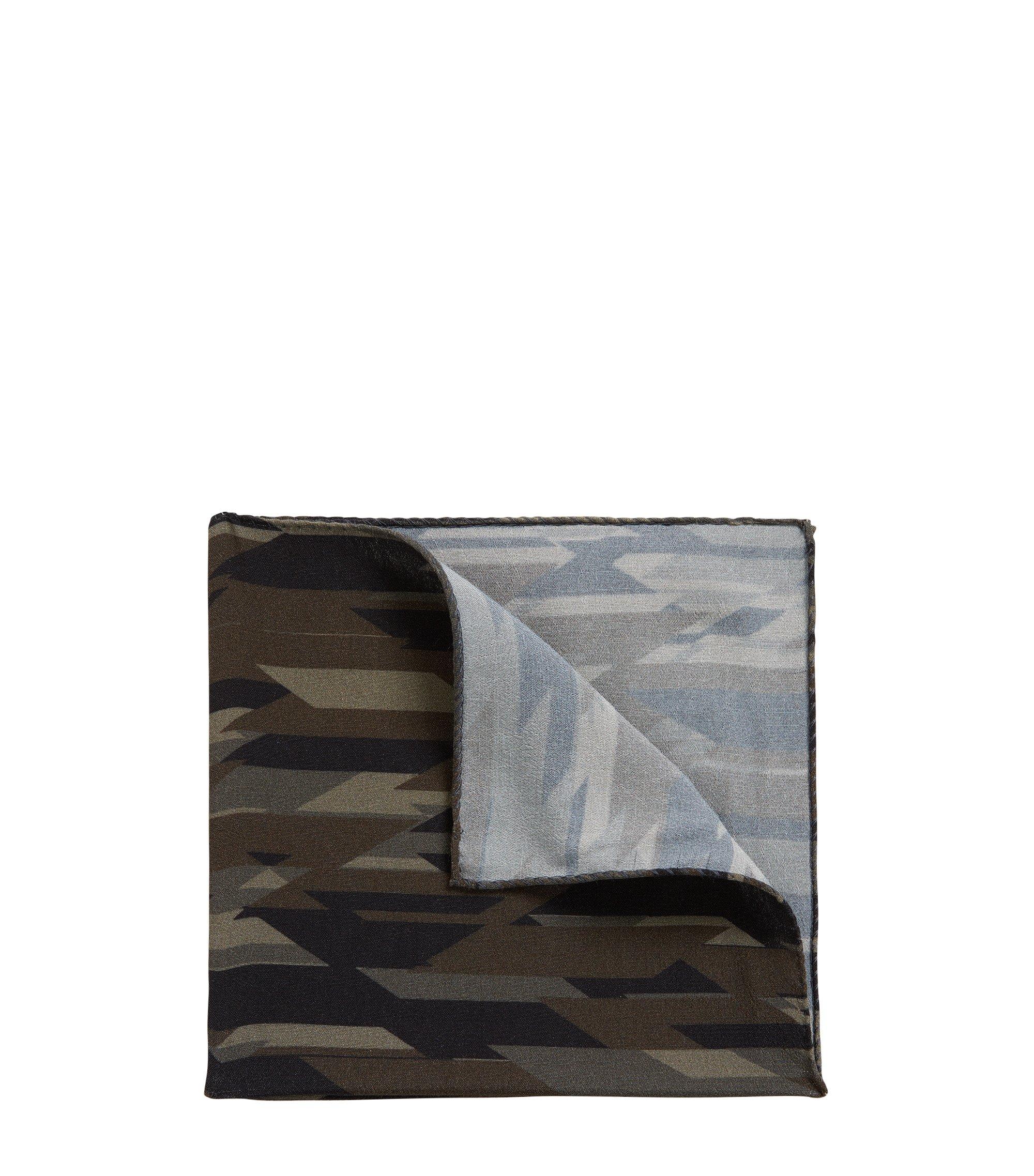 Pochette da taschino con stampa camouflage, Verde scuro