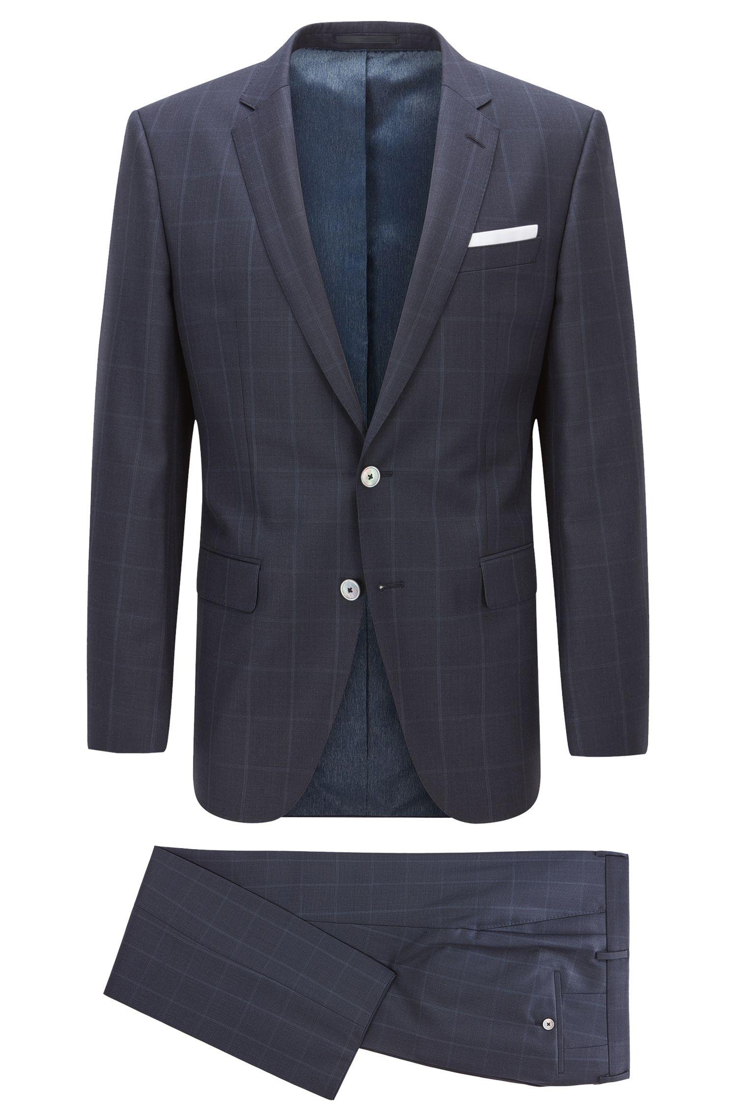 Slim-fit suit in checked virgin wool