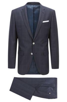 Slim-fit kostuum van geruite scheerwol, Donkerblauw