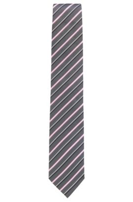 Silk jacquard tie with diagonal stripes, light pink