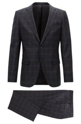 Slim-fit checked suit in virgin wool, Dark Grey