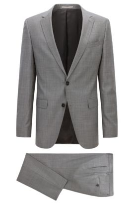Slim-fit suit in virgin wool, Grey