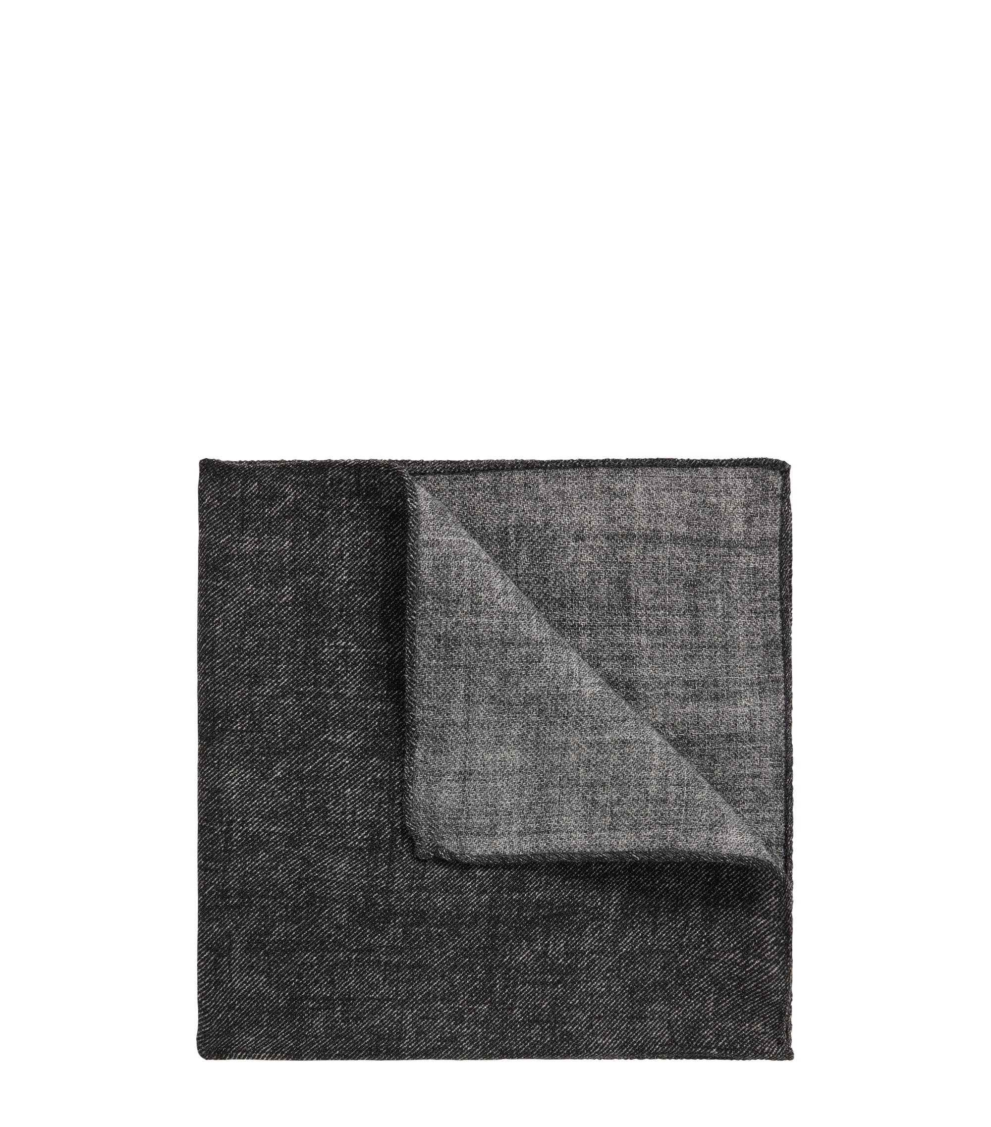 Marl pocket square in pure wool, Black