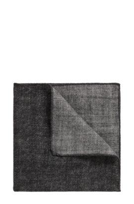 Pochette da taschino effetto mélange in pura lana, Nero
