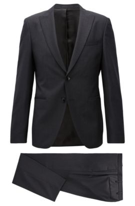 Extra-slim-fit virgin wool twill suit, Zwart