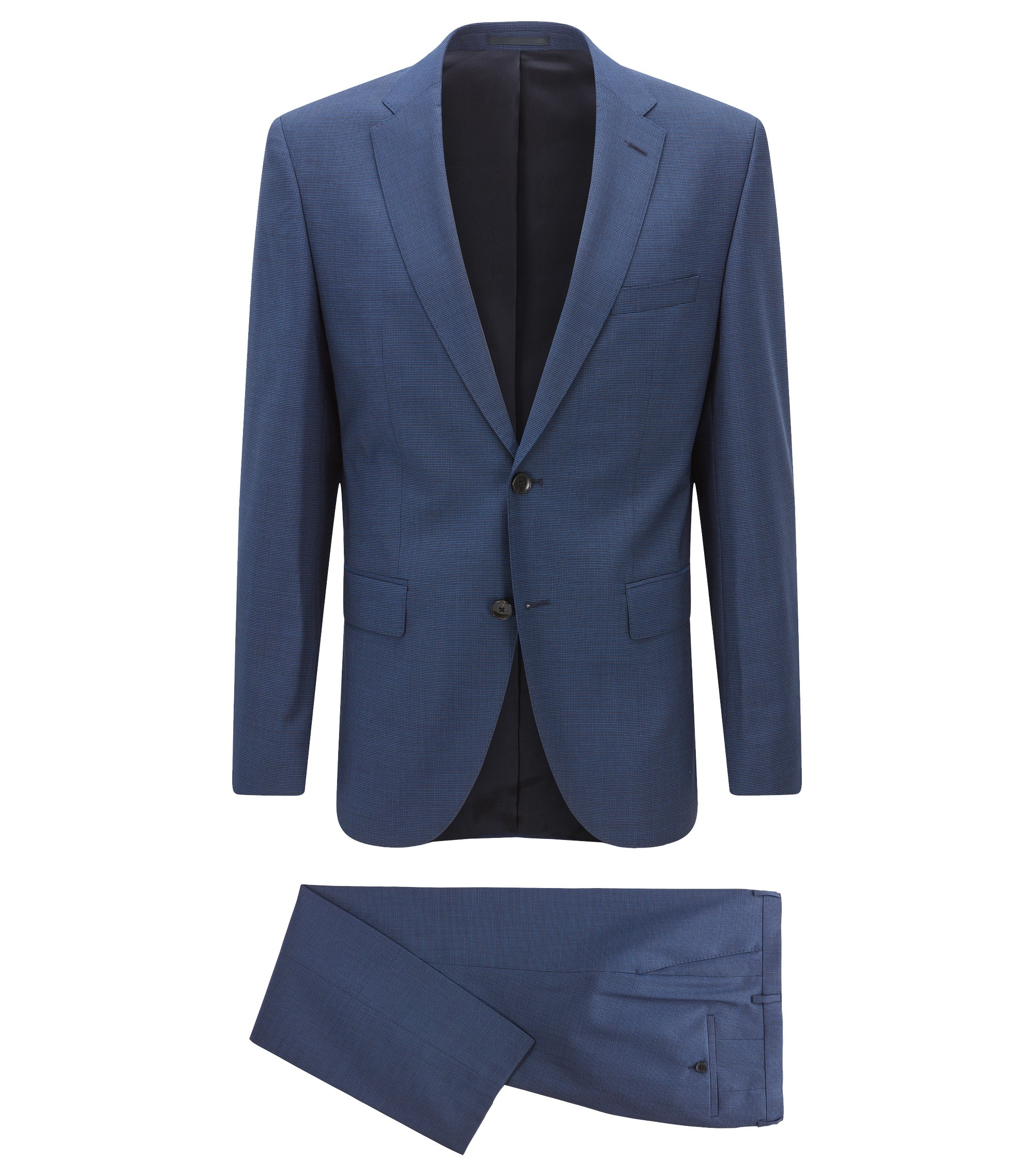Regular-fit suit in micro-pattern virgin wool, Blue