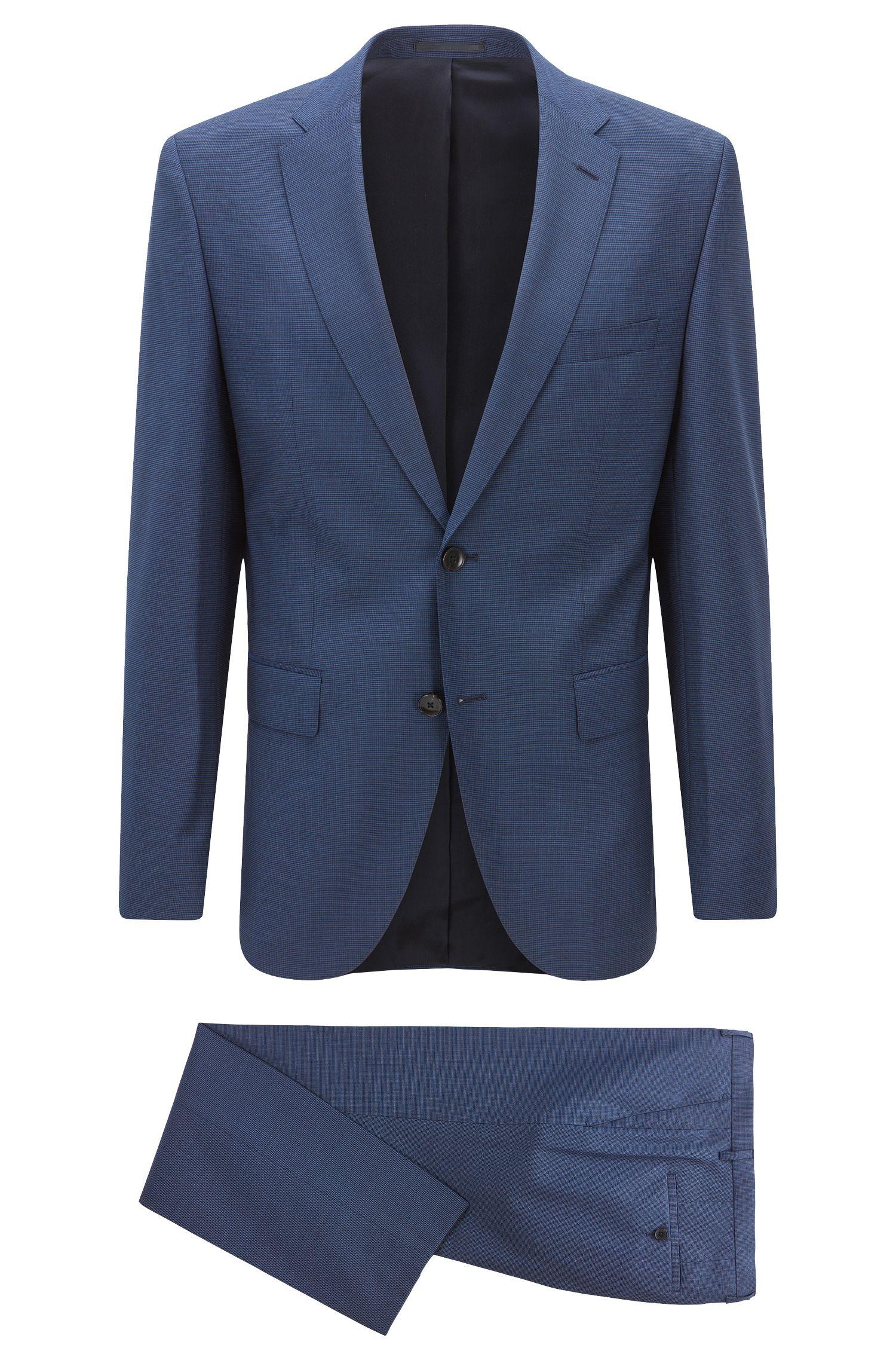Dezent gemusterter Regular-Fit-Anzug aus Schurwolle