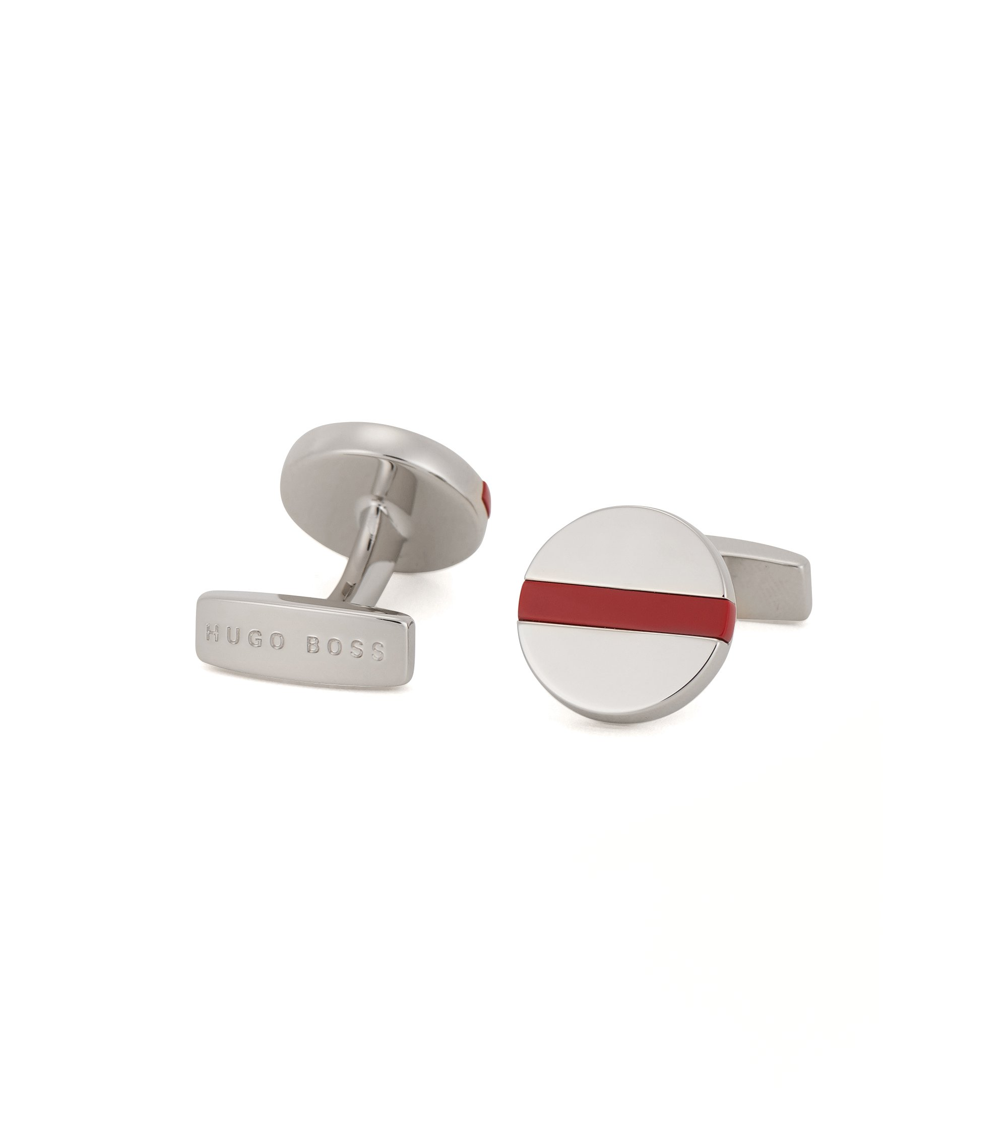 Round cufflinks in hand-polished brass, Red
