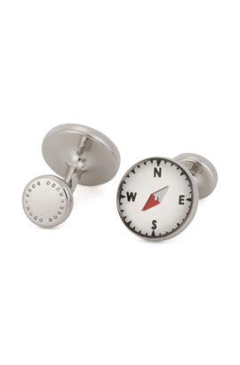 Round cufflinks in hand-polished brass, Light Grey