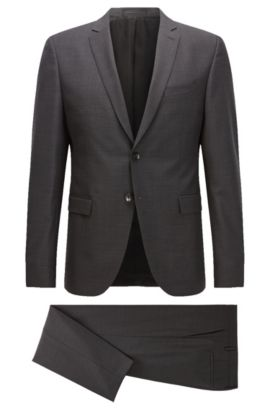 Extra-slim-fit suit in virgin wool, Anthracite