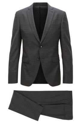 Extra-slim-fit suit in virgin wool, Dark Grey