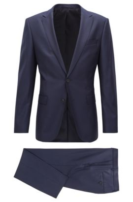 Travel Line slim-fit suit in micro-patterned virgin wool, Dark Blue