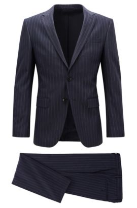Slim-fit pinstripe suit in stretch fabric, Dark Blue