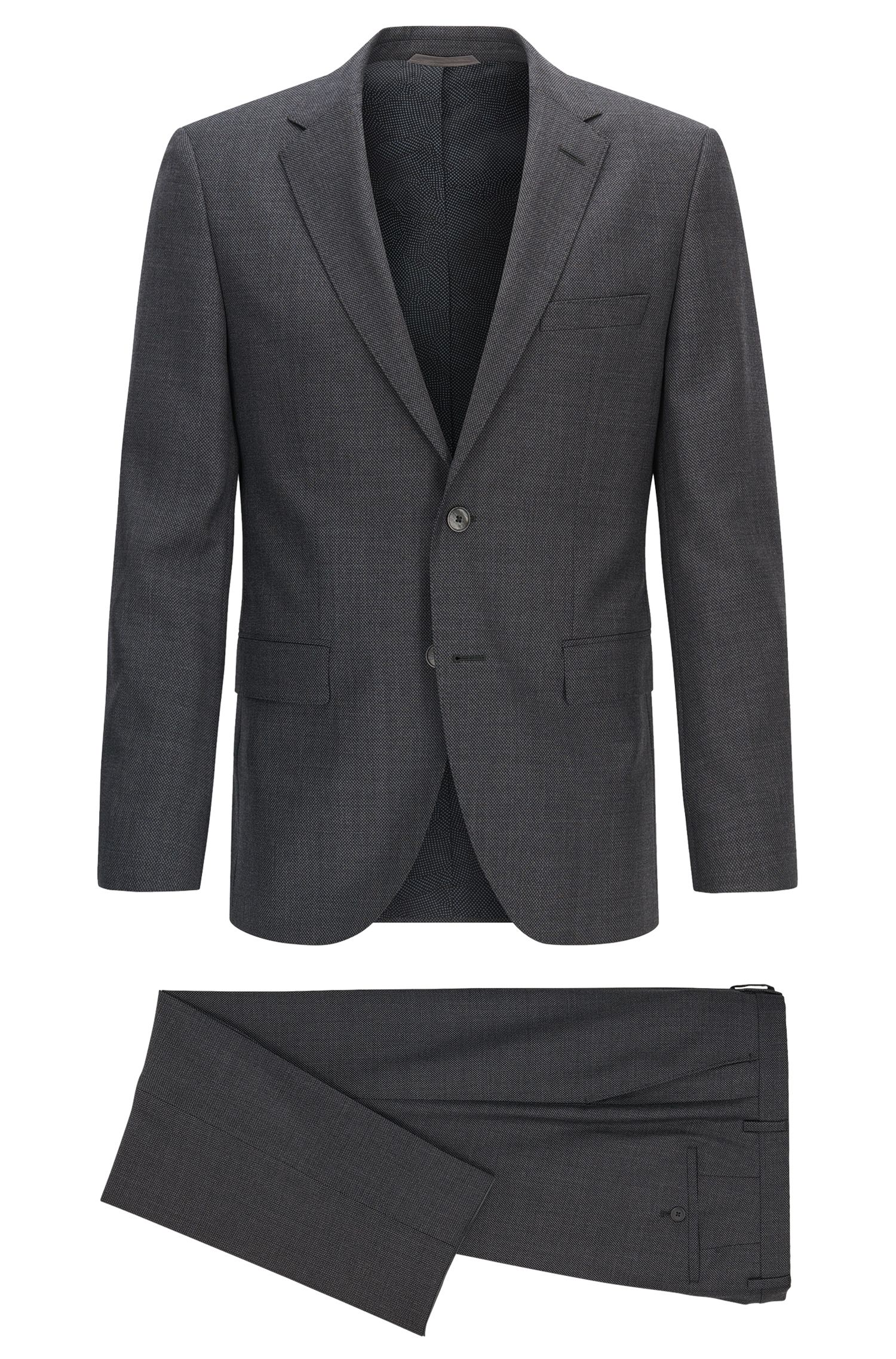 Regular-fit houndstooth check virgin wool suit