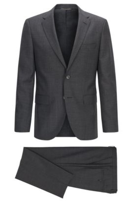 Regular-fit houndstooth check virgin wool suit, Gris