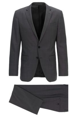 Slim-fit three-piece suit in virgin wool, Anthracite