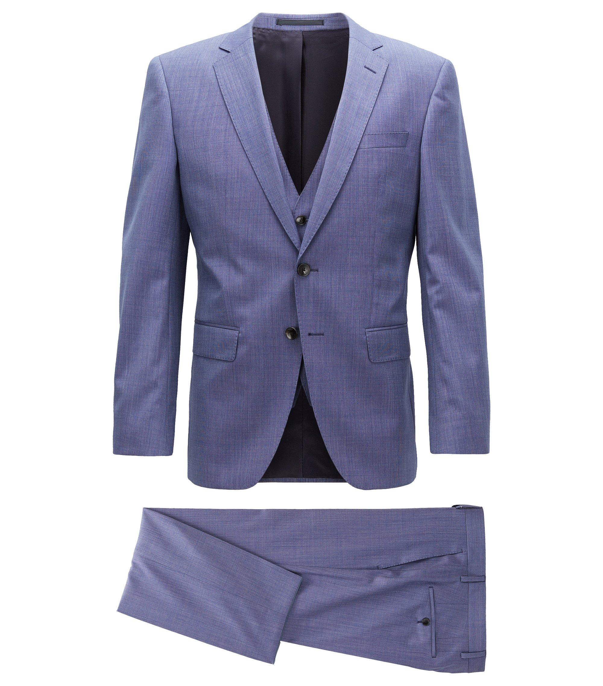 Slim-fit three-piece suit in virgin wool, Blue