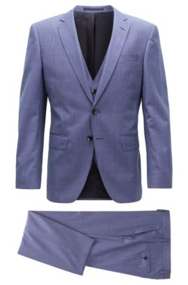 Slim-fit three-piece suit in virgin wool, Blue