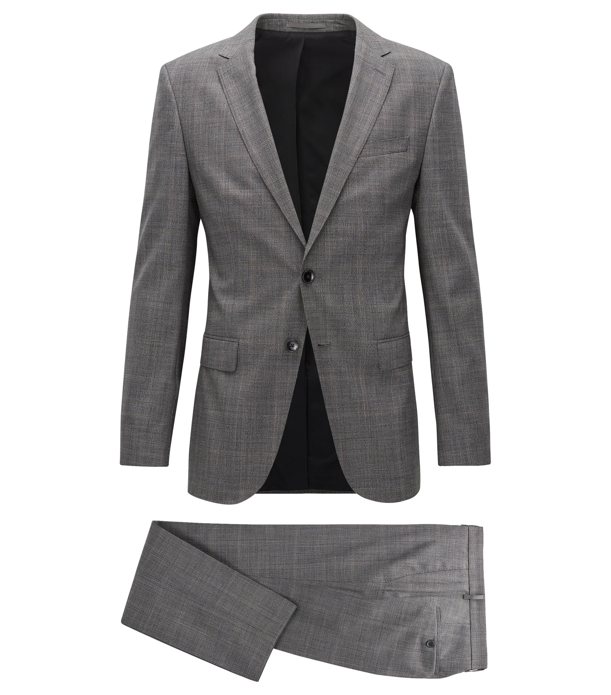 Slim-fit suit in fine checked virgin wool, Grey