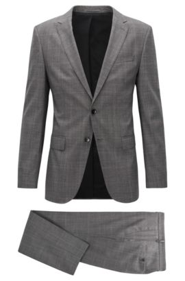 Slim-fit suit in fine checked virgin wool, Black