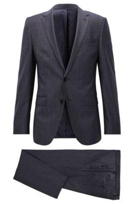 Slim-fit suit in virgin wool twill, Dark Blue