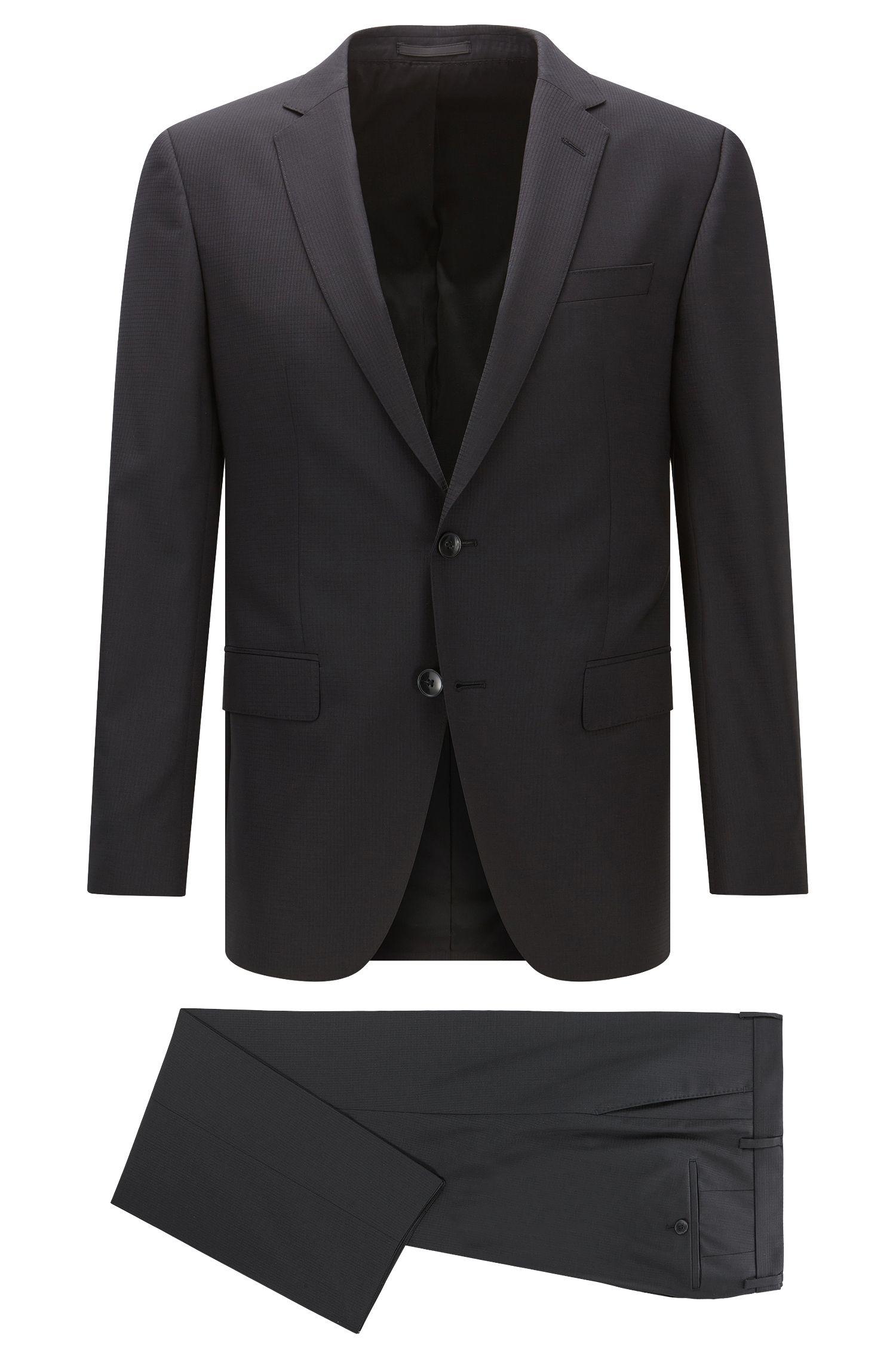 Slim-fit suit in mélange virgin wool