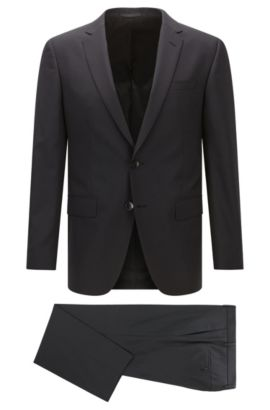 Slim-fit suit in mélange virgin wool, Black