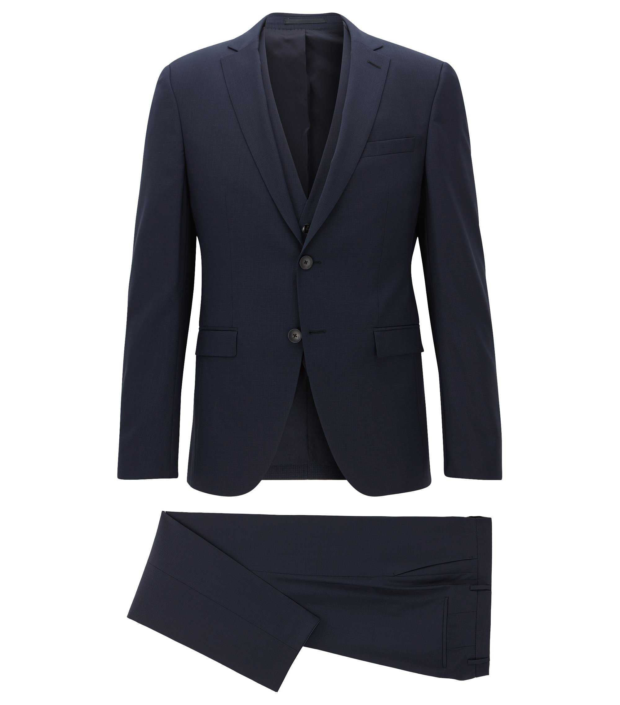Extra-slim-fit three-piece suit in patterned virgin wool, Dark Blue