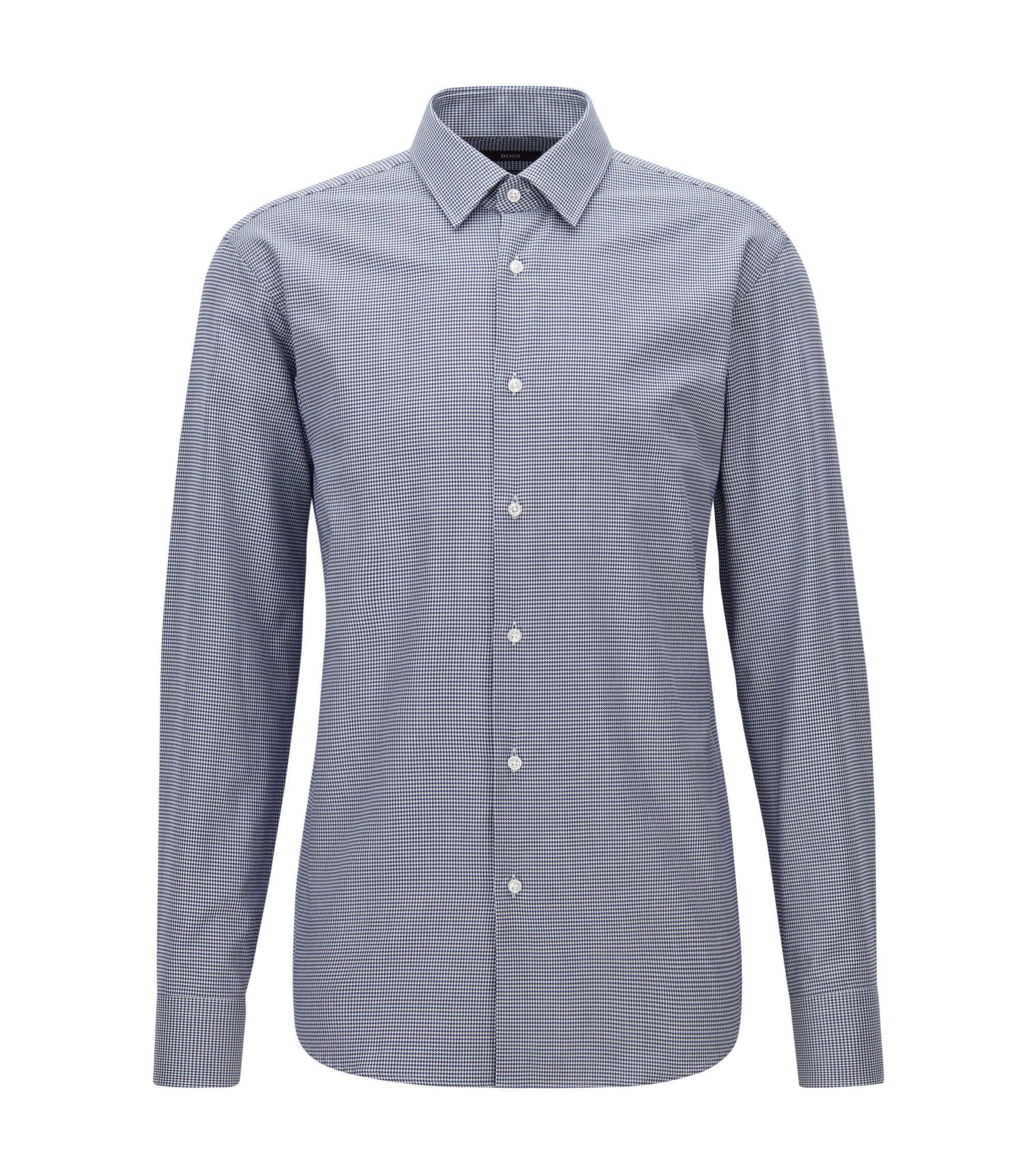 Camisa regular fit en algodón con diseño de pata de gallo, Azul oscuro
