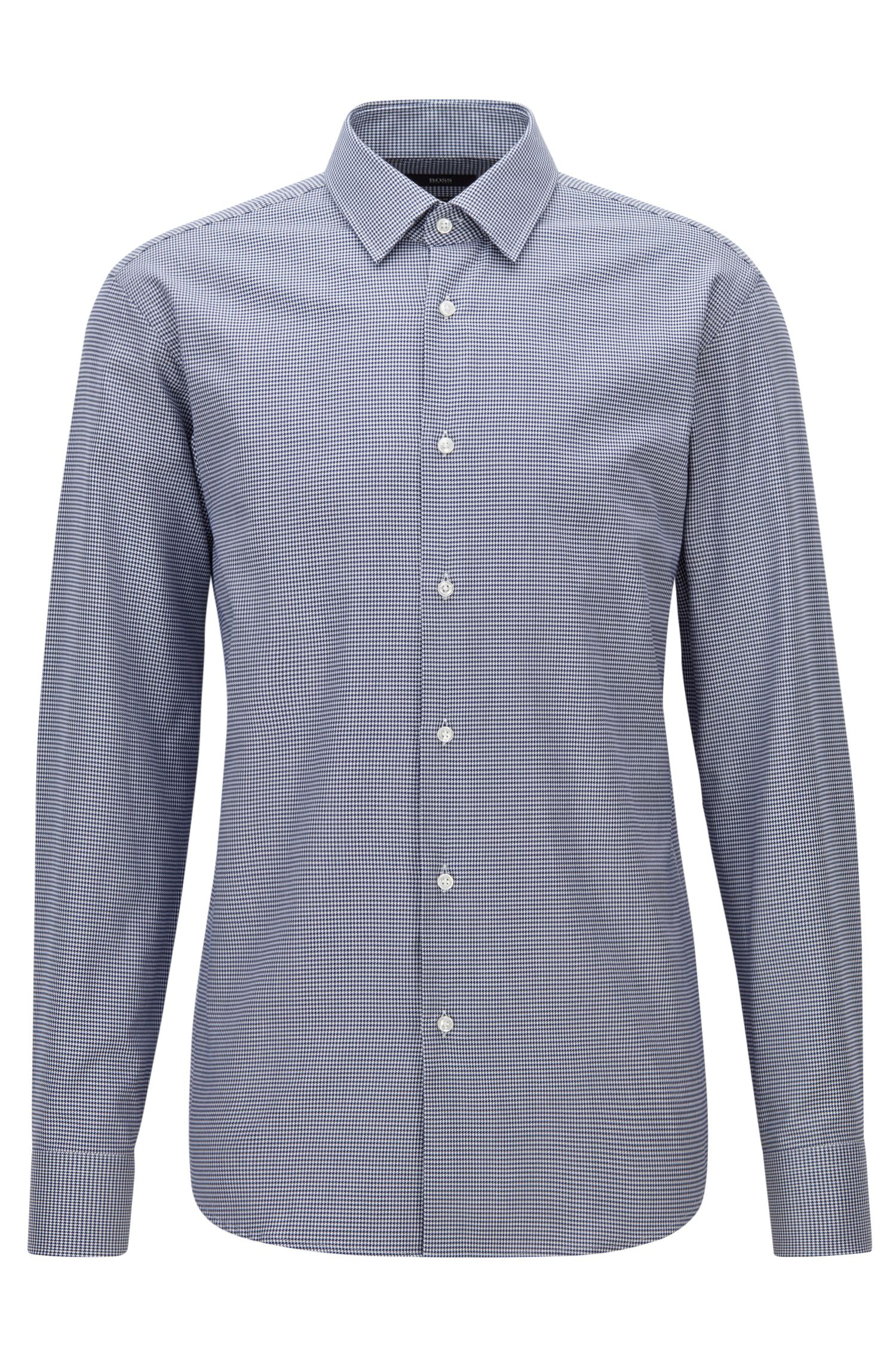 Camicia in cotone con motivo pied de poule regular fit