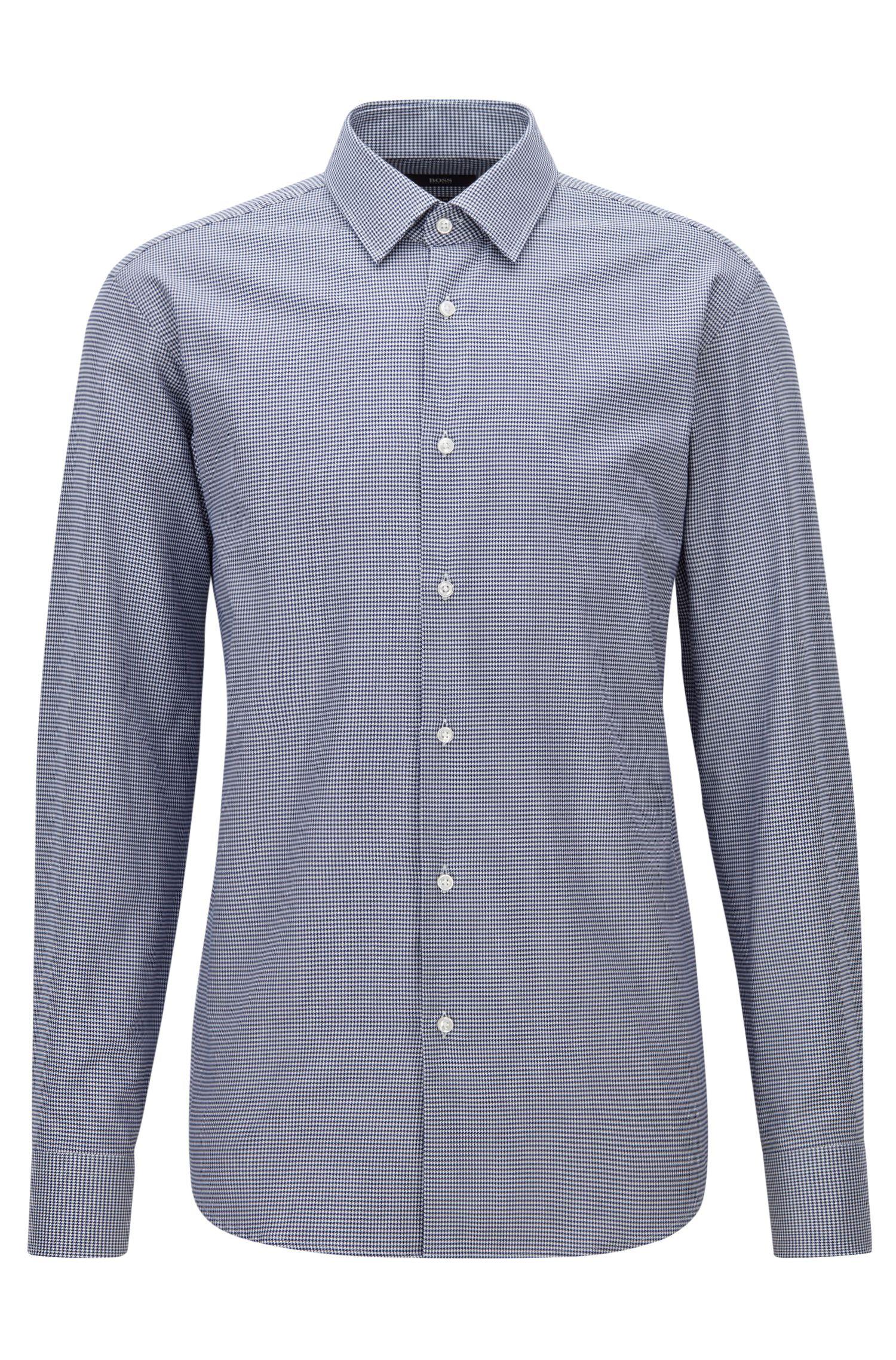 Regular-Fit-Hemd aus Baumwolle mit Hahnentritt-Muster