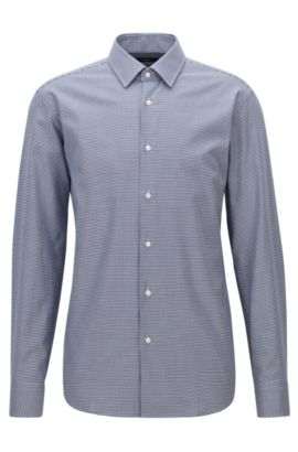 Camicia in cotone con motivo pied de poule regular fit, Blu scuro