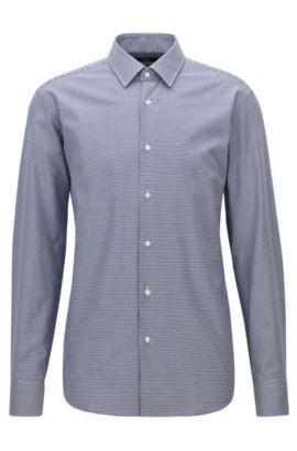 Regular-fit overhemd van katoen met pied-de-poule, Donkerblauw