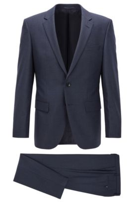 Slim-fit suit in micro-check virgin wool, Donkerblauw