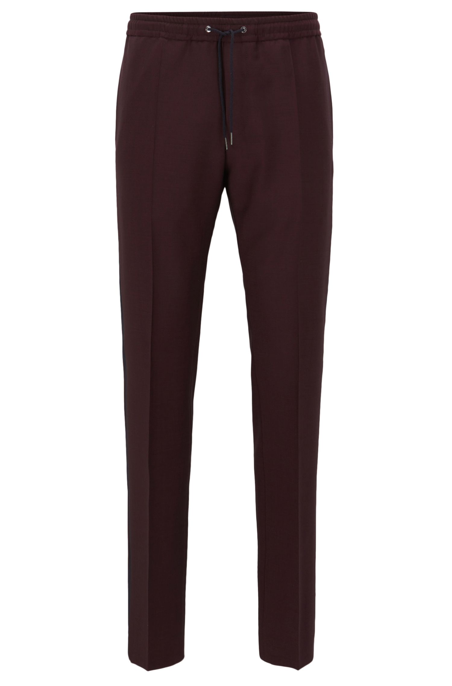 Relaxed-fit wool-blend trousers with side stripe