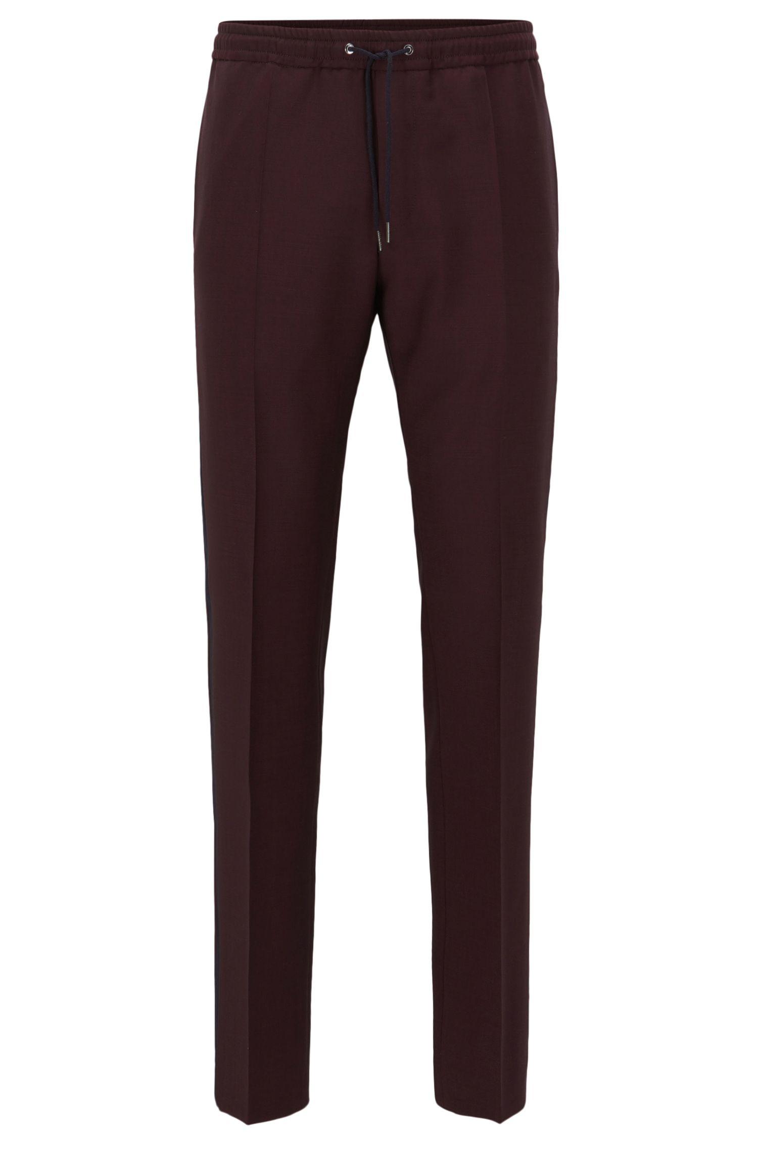 Pantalon Relaxed Fit en laine mélangée avec bande latérale