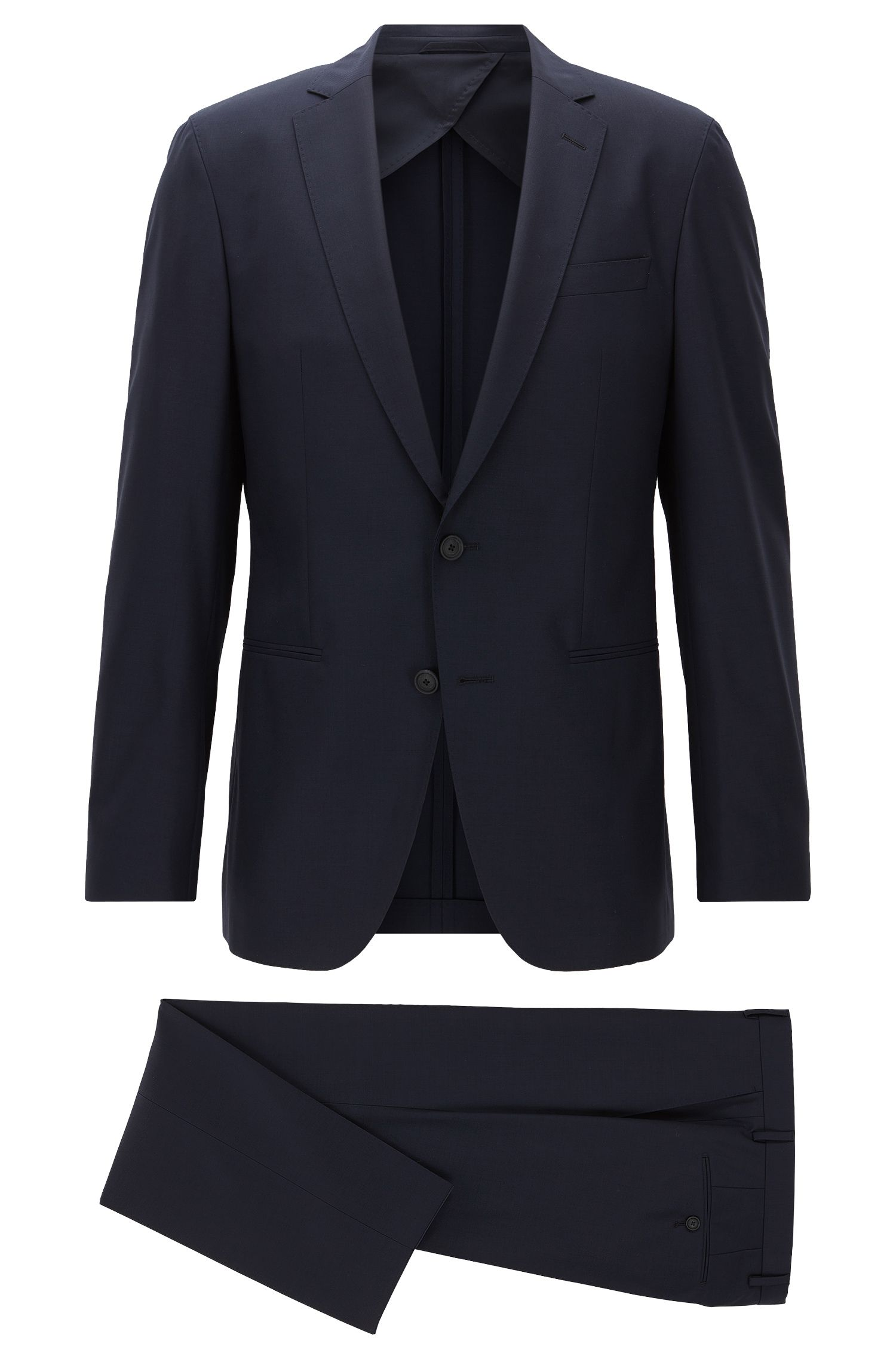 Slim-fit packable travel suit in virgin wool