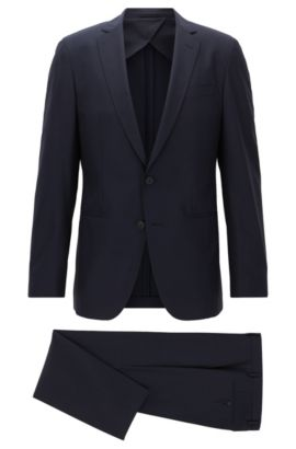 Slim-fit packable travel suit in virgin wool, Dark Blue