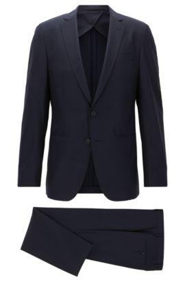 Slim-fit packable travel suit in virgin wool, Dark Blue
