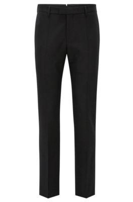 Slim-Fit Hose aus Schurwolle mit verlängertem Bund, Schwarz