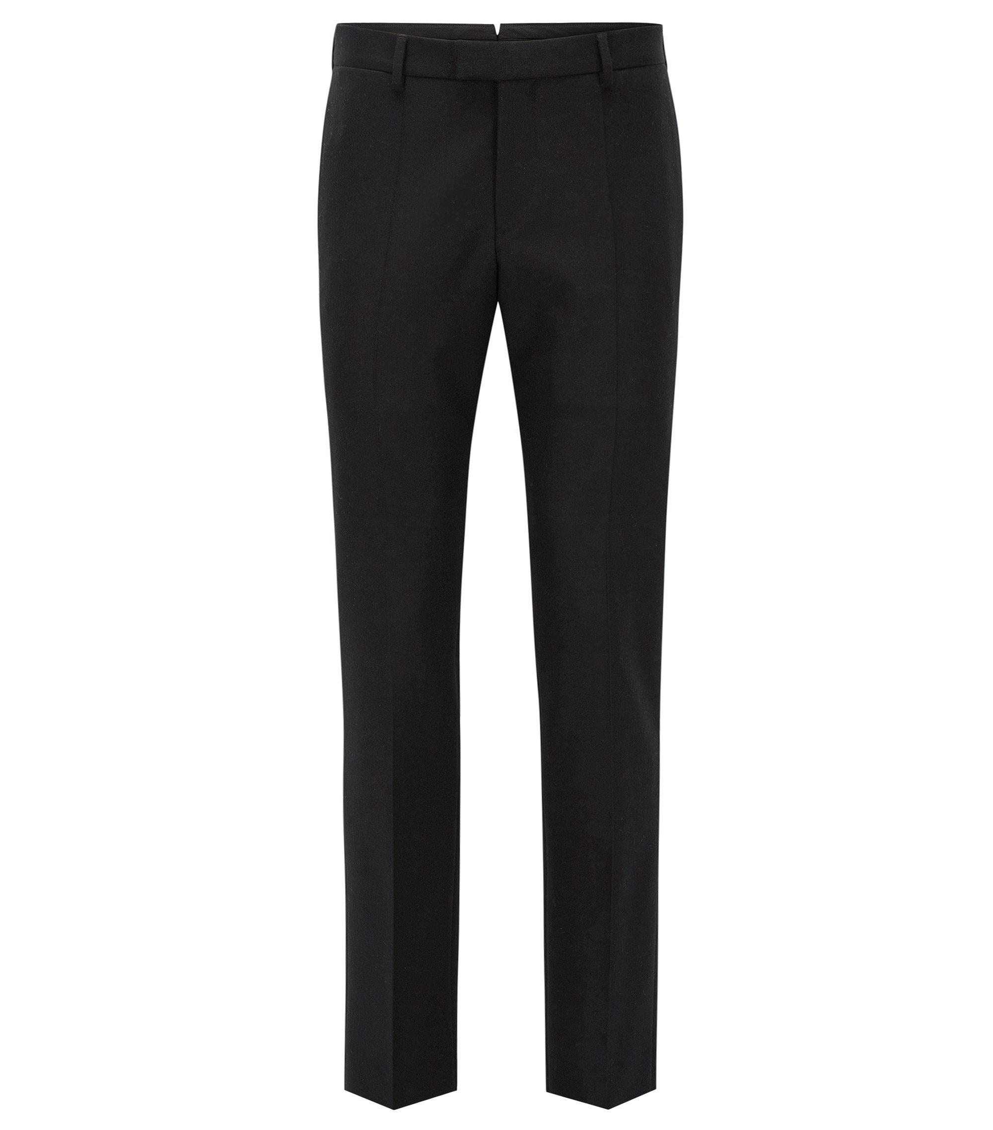 Pantalon Slim Fit en laine avec patte décalée à la taille, Noir