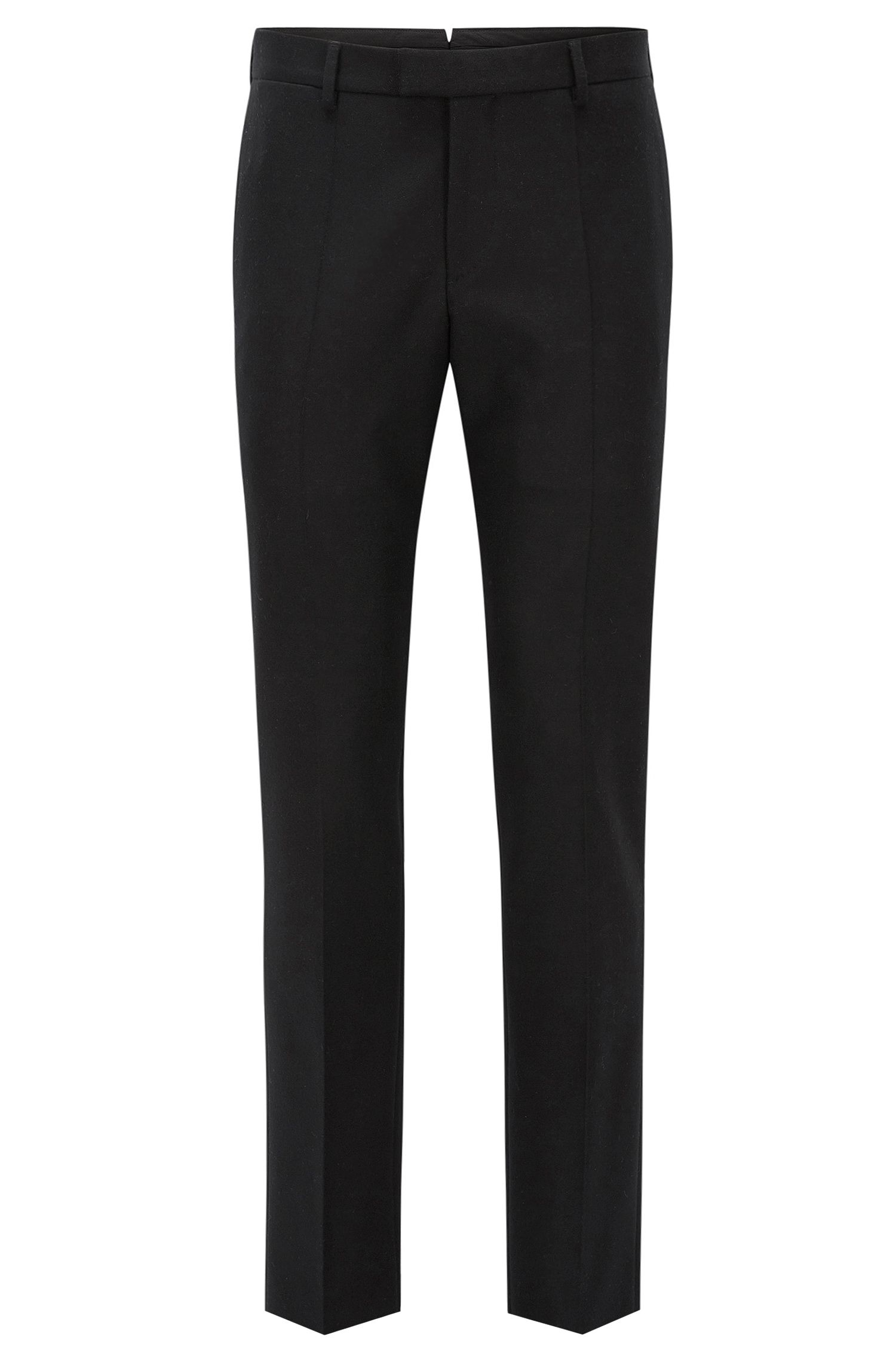 Slim-fit wool trousers with waistband extension