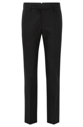 Pantaloni slim fit in lana con cintura estensibile, Nero