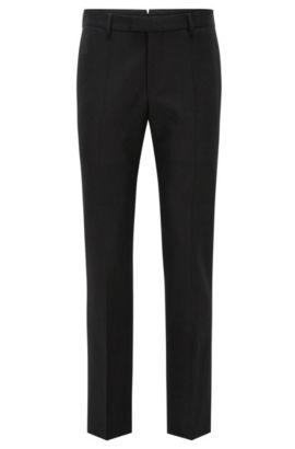 Slim-Fit-Hose aus Schurwolle mit verlängertem Bund, Schwarz