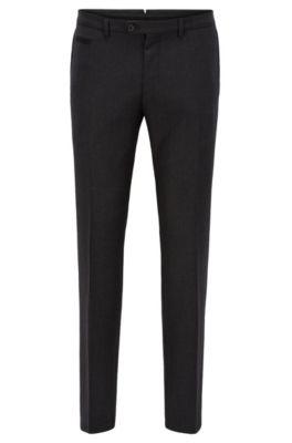 Extra slim-fit broek van scheerwol, Antraciet