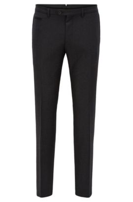 Extra-slim-fit trousers in virgin wool, Anthracite