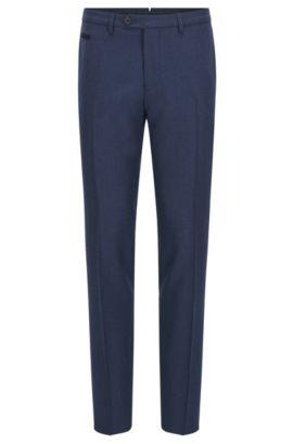 Extra slim-fit broek van scheerwol, Blauw