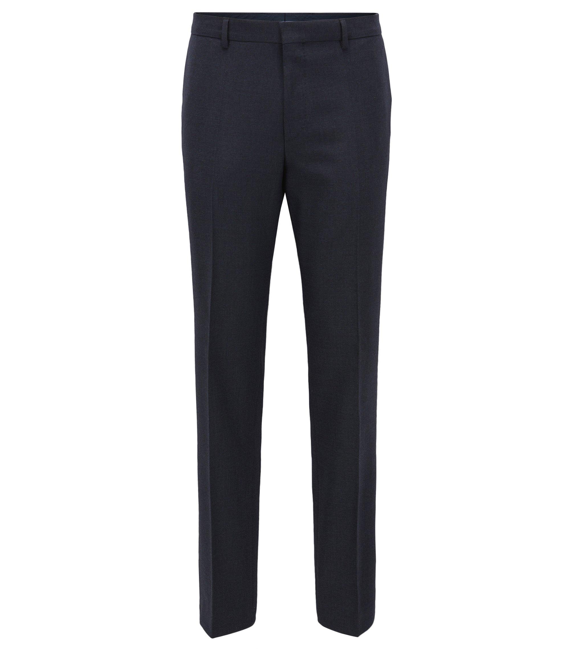 Slim-fit broek van een wolmix, Donkerblauw