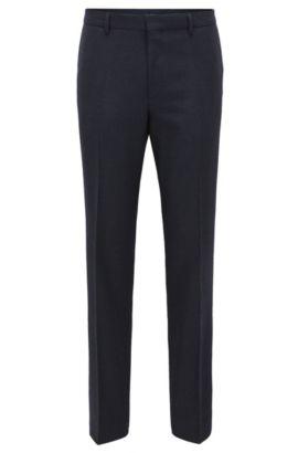 Pantalon Slim Fit en laine mélangée, Bleu foncé